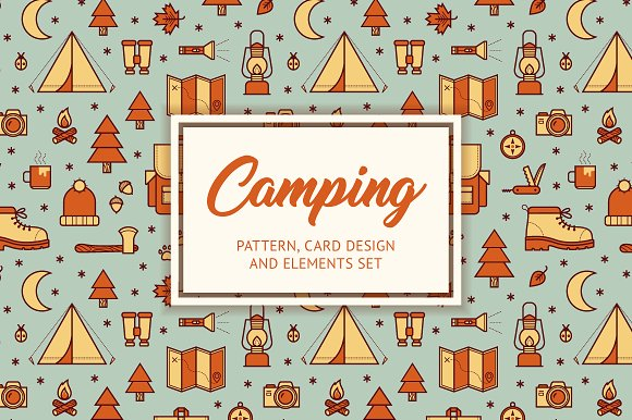 Camping Pattern Card Elements Set