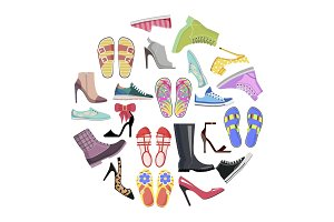 Collection of Shoes in Round Frame Banner Isolated