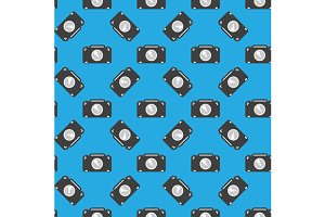 Camera sign seamless pattern on blue