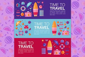 Beach Time to Travel Flyers & Banner