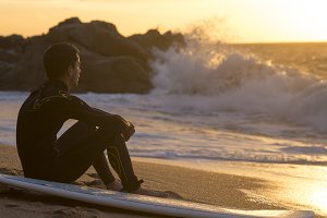 Surfer in sunset