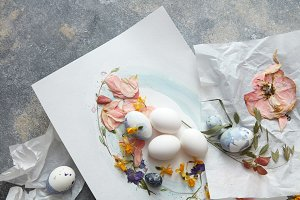 Easter eggs with flowers decoration