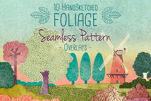 10 Foliage Seamless Pattern Overlays