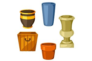 Garden pots. Set of various color flowerpots