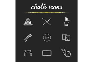 Billiard chalk icons set
