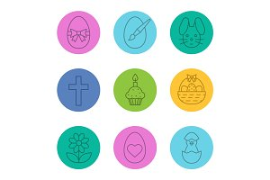 Easter linear icons set