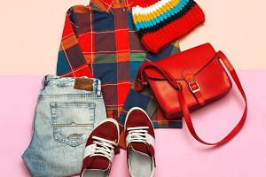 set of clothes. Checkered jacket