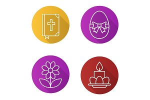 Easter flat linear long shadow icons set