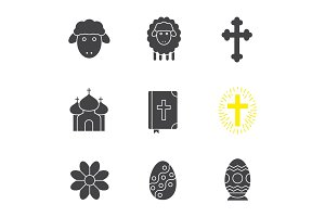 Easter glyph icons set