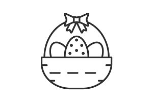 Easter basket linear icon