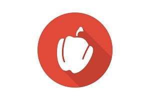 Paprika flat design long shadow icon