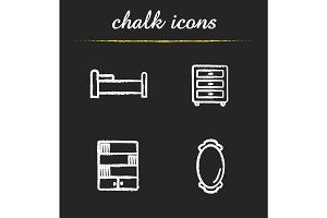 Furniture chalk icons set