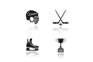 Hockey equipment drop shadow black icons set