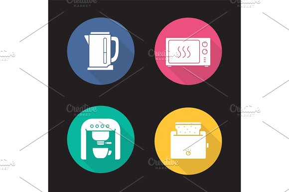 Kitchen Electronics Flat Design Long Shadow Icons Set