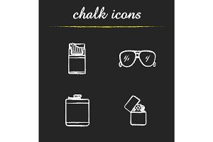 Men's accessories chalk icons set