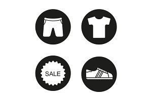 Sport clothes store sale icons set