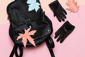 Leather gloves and backpack