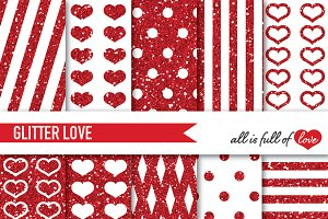 Red Glitter Digital Paper Pack