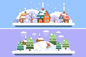 Vector Flat Winter Village Landscape
