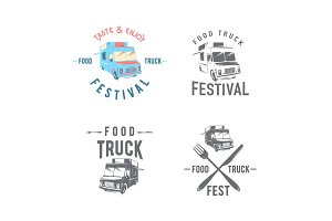 Vector illustration of street food truck graphic badge set
