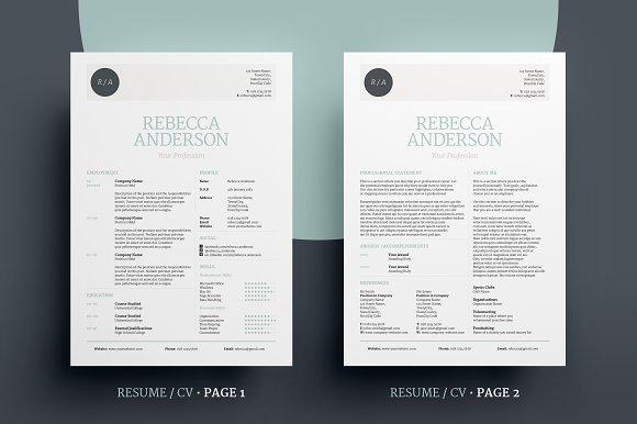 elegant resumecv v1 resume templates creative market