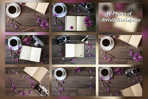 10 Photos, Artistic Workspace,Bundle