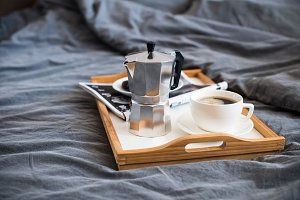 Coffee and breakfast in bed, cozy morning