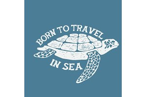 sea turtle vintage label