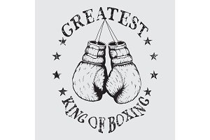 Vector old sports label with boxing gloves