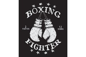 Vector label with boxing gloves