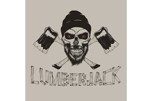 lumberjack-skull with axes.