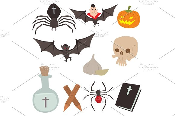 Cartoon Dracula Vector Coffin Symbols Vampire Icons Character Funny Man Comic Halloween And Magic Spell Witchcraft Ghost Night Devil Tale Illustration