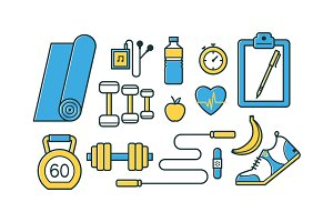 Sports and fitness pattern and icons