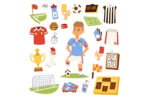 Soccer player man icons vector illustration.