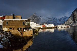Sunrise over the Hamnoy village in winter