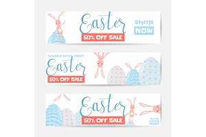 Vector illustration of horizontal easter sale banner set