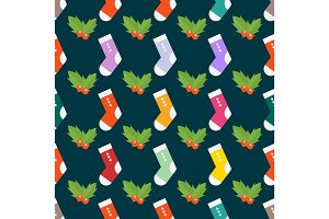 Flat design colorful socks selection of various foot warm cloth textile and cute red berries decoration wool winter sport season vector illustration.