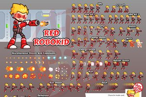 Red Robokid Game Sprites