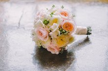 Wedding bouquet with peonies