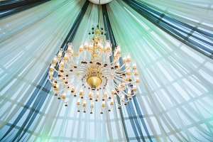 Beautiful chandelier wedding celebration