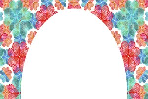 Circle Frame Background with Colorful Decorated Borders