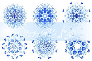 Set of 9 watercolor snowflakes