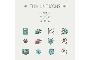 Business thin line icons.