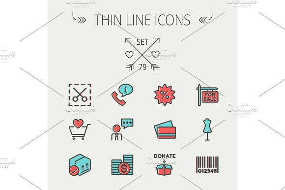 Business shopping thin line icon set in Icons