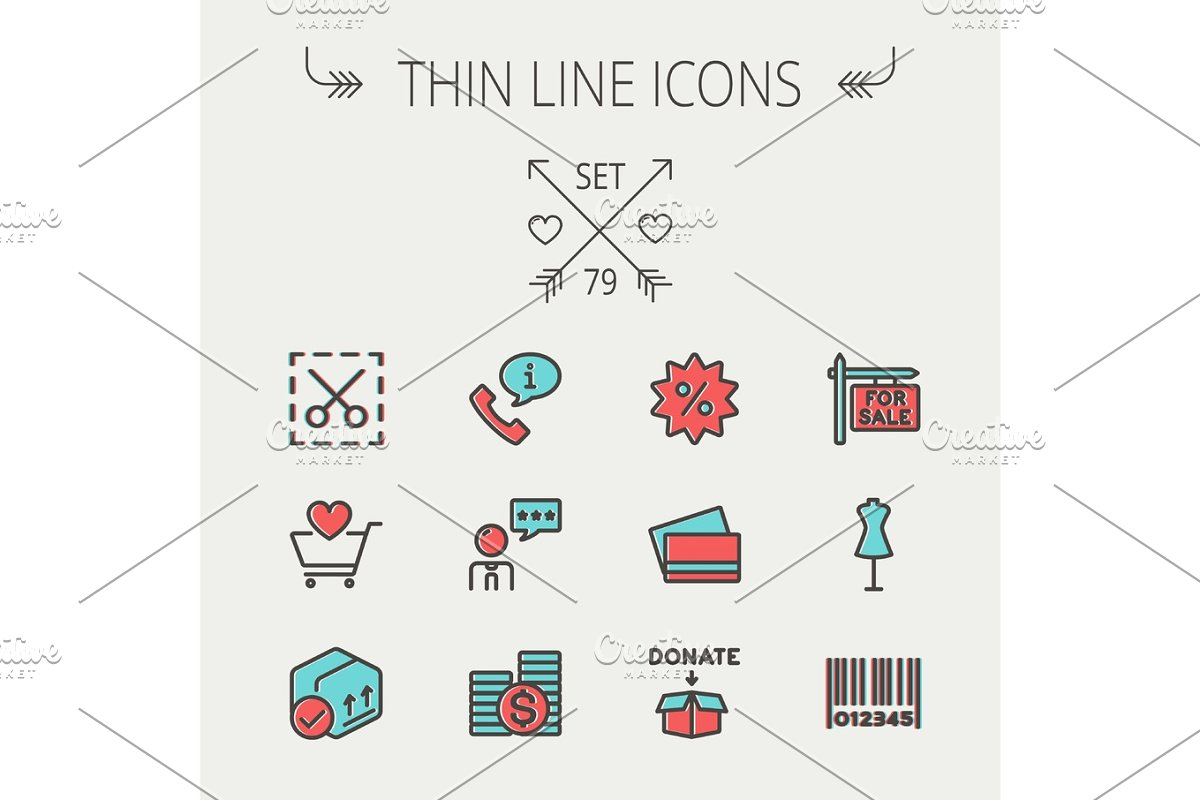Business shopping thin line icon set in Graphics - product preview 8