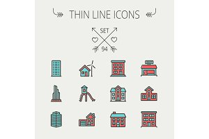 Construction thin line icon set