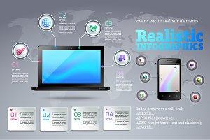Realistic Infographics Set