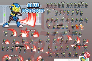 Blue Robokid Game Sprites