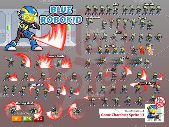 Blue Robokid Game Sprites