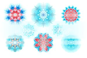 Set of 15 watercolor snowflakes
